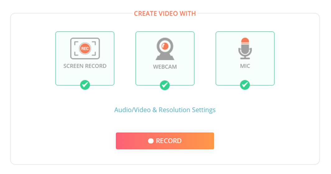 Record webcam videos and screen with audio